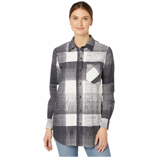 リジー レディース シャツ トップス Schiffer Button Down Printed Microfiber Top Checked Plaid