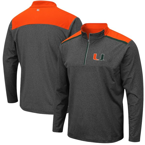 コロシアム メンズ ジャケット&ブルゾン アウター Miami Hurricanes Colosseum Snowball Windshirt Quarter-Zip Pullover Jacket Heathered Charcoal
