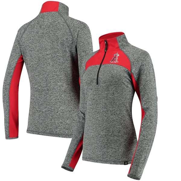 ファナティクス レディース ジャケット&ブルゾン アウター Los Angeles Angels Fanatics Branded Women's Static Quarter-Zip Pullover Jacket Heathered Gray/Red