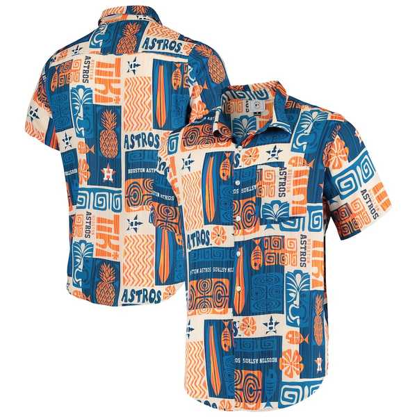 フォコ メンズ シャツ トップス Houston Astros Tiki Button-Up Shirt Navy