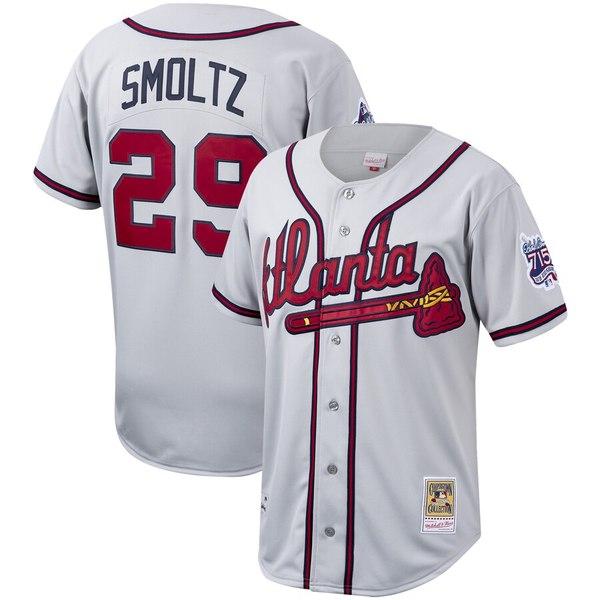 ミッチェル&ネス メンズ シャツ トップス John Smoltz Atlanta Braves Mitchell & Ness Cooperstown Collection Authentic Jersey Gray