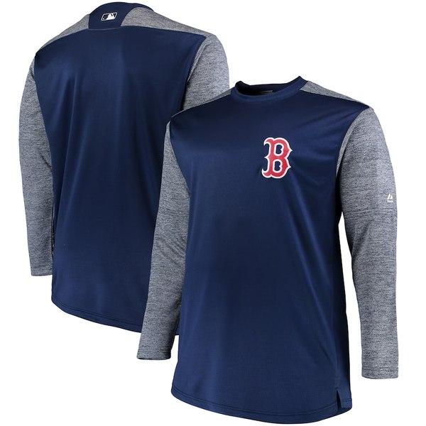 マジェスティック メンズ パーカー・スウェットシャツ アウター Boston Red Sox Majestic Big & Tall On-Field Tech Fleece Sweatshirt Navy/Gray