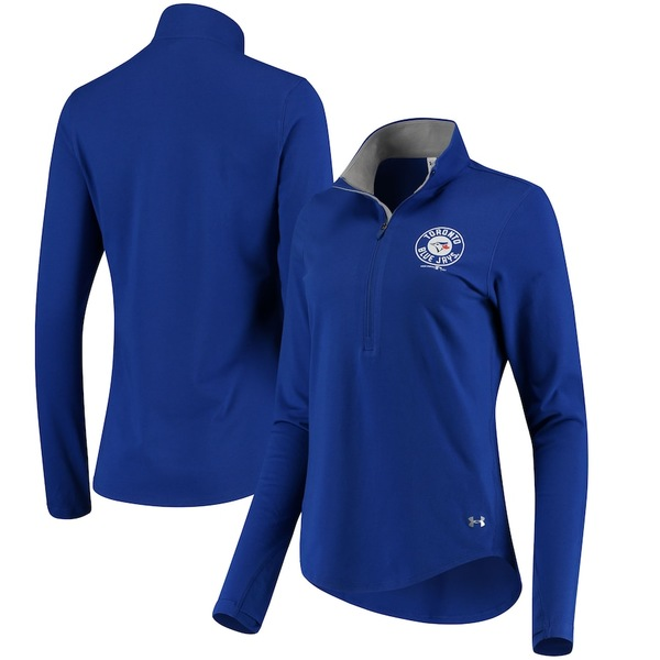 アンダーアーマー レディース ジャケット&ブルゾン アウター Toronto Blue Jays Under Armour Women's Charged Cotton Half-Zip Pullover Jacket Royal