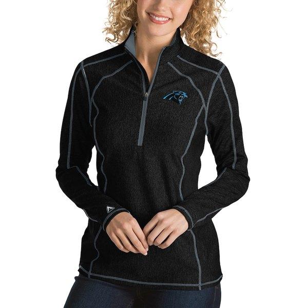 アンティグア レディース ジャケット&ブルゾン アウター Carolina Panthers Antigua Women's Tempo Desert Dry Quarter-Zip Jacket Heather Black