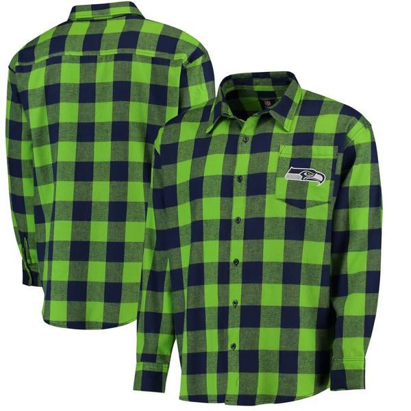 フォコ メンズ シャツ トップス Seattle Seahawks Klew Large Check Flannel Button-Up Shirt College Navy
