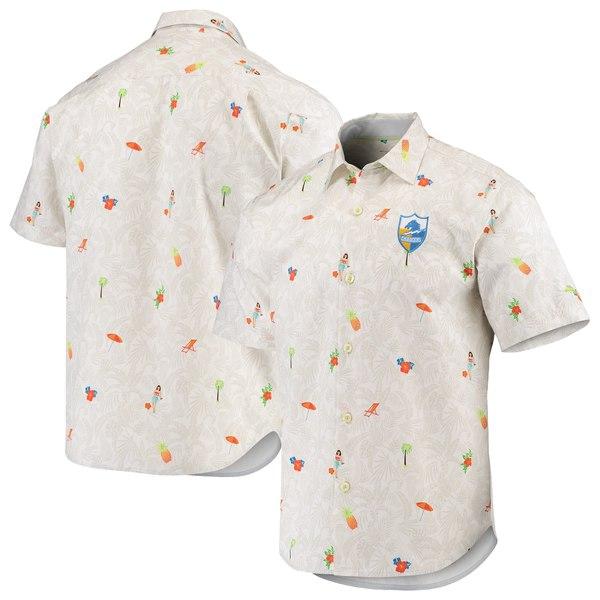 トッミーバハマ メンズ シャツ トップス Los Angeles Chargers Tommy Bahama Beachcation Team Throwback ButtonUp Woven Shirt White