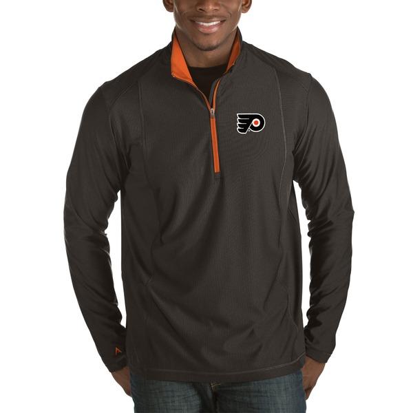 アンティグア メンズ ジャケット&ブルゾン アウター Philadelphia Flyers Antigua Tempo Desert Dry 1/2Zip Pullover Jacket Charcoal