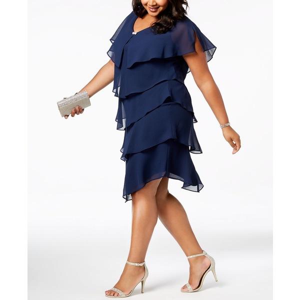 エス エル ファッションズ 半額 レディース 永遠の定番 トップス ワンピース Navy 全商品無料サイズ交換 Size Shift Plus Tiered Dress