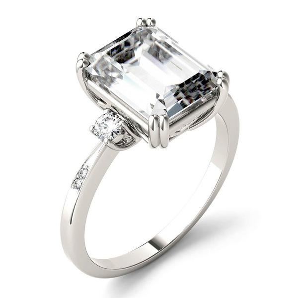 チャールズ アンド コルバード レディース アクセサリー リング White Gold 全商品無料サイズ交換 大幅値下げランキング Moissanite 3-3 Ring 4 14k 希望者のみラッピング無料 ct. Emerald Engagement tw. in