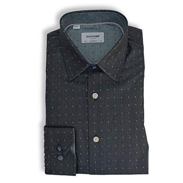 デュシャン ロンドン メンズ シャツ トップス Solid Tonal Dot Dress Shirt Black
