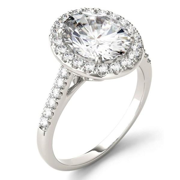 チャールズ アンド コルバード 贈答品 レディース アクセサリー リング White Gold 全商品無料サイズ交換 Moissanite Oval Halo 日本正規品 Equivalent in 3-1 tw. ct. Ring 2 14k Diamond