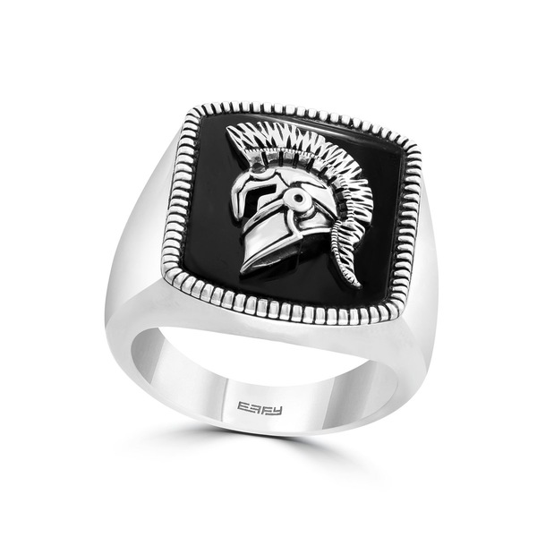 エフィー コレクション メンズ アクセサリー リング Silver 全商品無料サイズ交換 保証 EFFY® Men's in Onyx Sterling Gladiator Ring ct. 海外限定 5 t.w.
