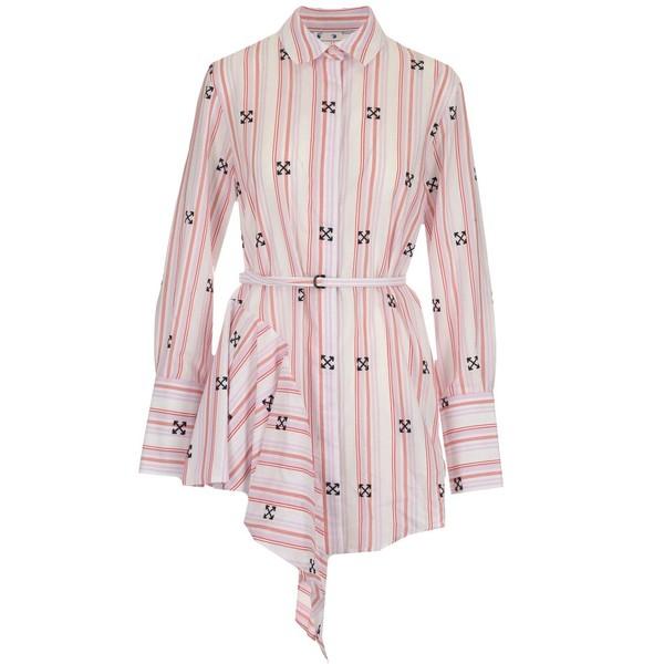 オフホワイト レディース トップス ワンピース - 全商品無料サイズ交換 Off-White 卓抜 大規模セール Asymmetric Shirt Print Dress Arrow
