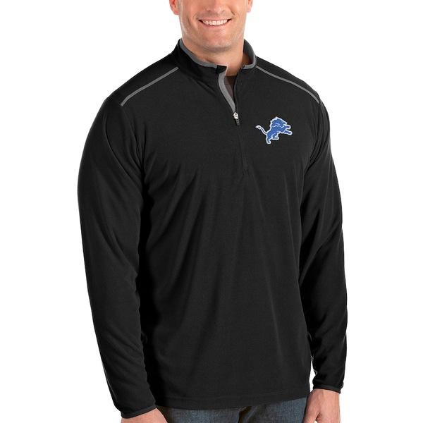 アンティグア メンズ ジャケット&ブルゾン アウター Detroit Lions Antigua Glacier Big & Tall Quarter-Zip Pullover Jacket Black