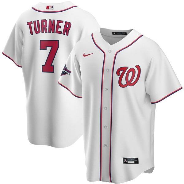 ナイキ メンズ シャツ トップス Trea Turner Washington Nationals Nike 2019 World Series Champions Home Replica Player Jersey White