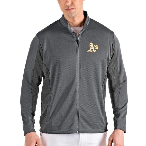 アンティグア メンズ ジャケット&ブルゾン アウター Oakland Athletics Antigua Passage Full-Zip Jacket Gray