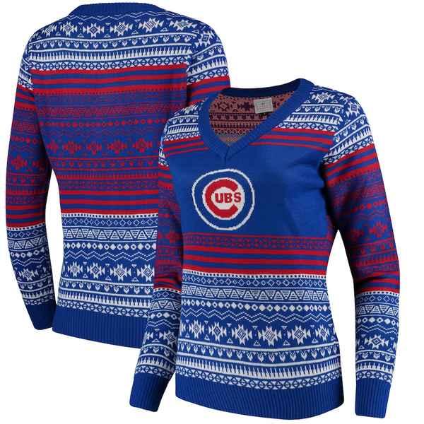 フォコ レディース シャツ トップス Chicago Cubs Women's Big Logo Aztec V-Neck Sweater Royal