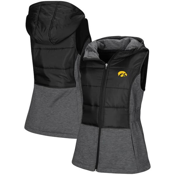 コロシアム レディース ジャケット&ブルゾン アウター Iowa Hawkeyes Colosseum Women's Ray Quilted Full Zip Vest Black