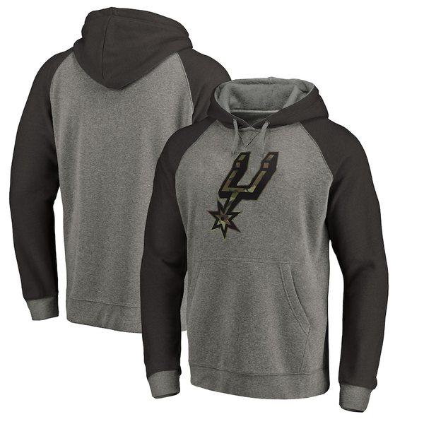 ファナティクス メンズ パーカー・スウェットシャツ アウター San Antonio Spurs Fanatics Branded Prestige Camo Tri-Blend Pullover Hoodie Heathered Gray