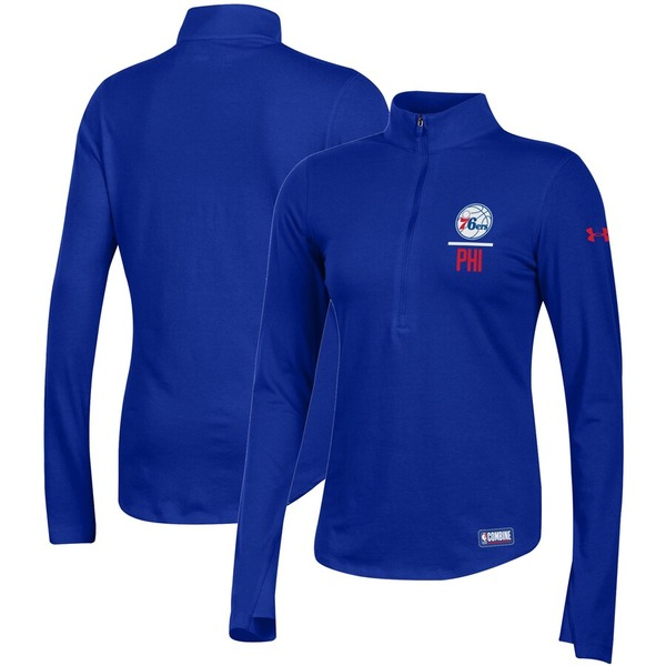 アンダーアーマー レディース ジャケット&ブルゾン アウター Philadelphia 76ers Under Armour Women's Combine Authentic Favorites Half-Zip Sweatshirt Royal