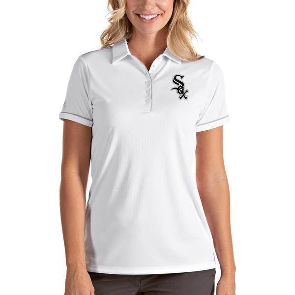 アンティグア レディース ポロシャツ トップス Chicago White Sox Antigua Women's Salute Polo White/Silver