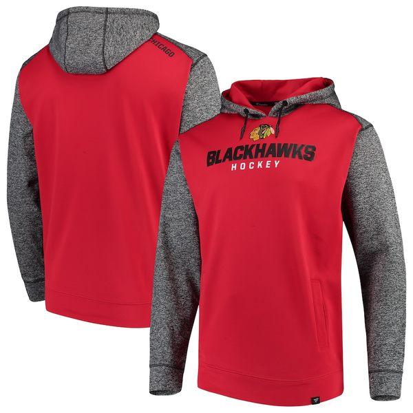 ファナティクス メンズ パーカー・スウェットシャツ アウター Chicago Blackhawks Fanatics Branded Static Fleece Pullover Hoodie Red/Heathered Charcoal