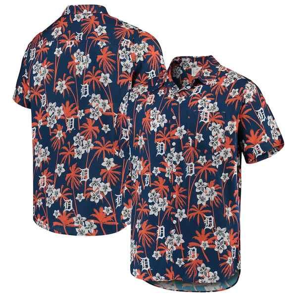フォコ メンズ シャツ トップス Detroit Tigers Floral Button-Up Shirt Navy