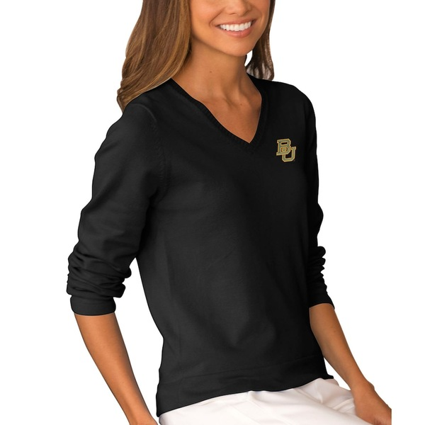 ビンテージアパレル レディース シャツ トップス Baylor Bears Women's Clubhouse V-Neck Sweater Black