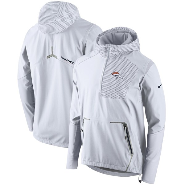 ナイキ メンズ ジャケット&ブルゾン アウター Denver Broncos Nike Champ Drive Vapor Speed Fly Rush Flash Half-Zip Pullover Jacket White