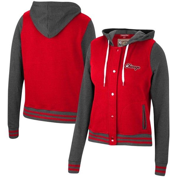 ミッチェル&ネス レディース ジャケット&ブルゾン アウター Chicago Bulls Mitchell & Ness Women's Hardwood Classics Varsity Fleece Full Snap Hoodie Jacket Red