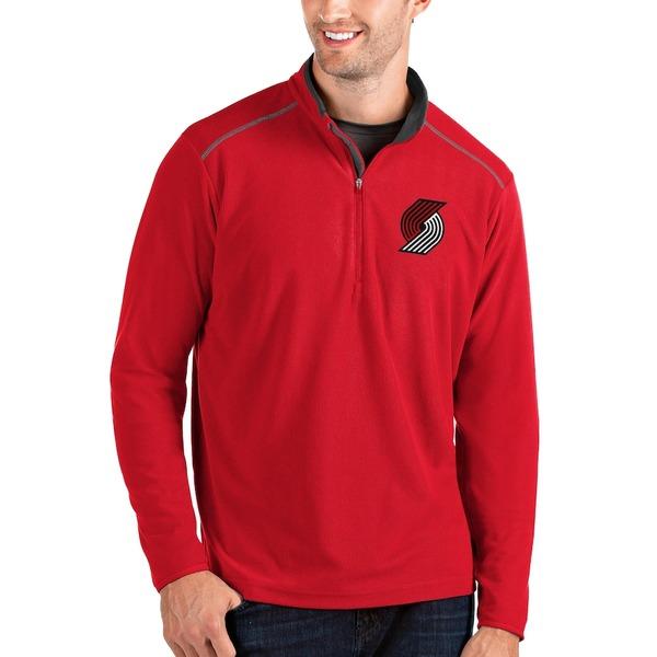 アンティグア メンズ ジャケット&ブルゾン アウター Portland Trail Blazers Antigua Big & Tall Glacier Quarter-Zip Pullover Jacket Red/Gray