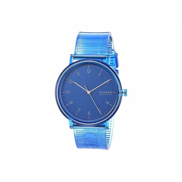 スカーゲン メンズ 腕時計 アクセサリー Aaren Transparent Three-Hand Watch SKW6602 Blue Silicone
