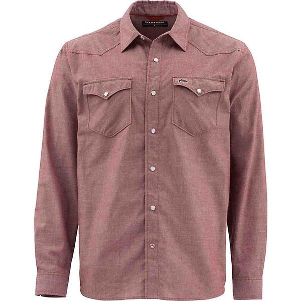 シムズ メンズ シャツ トップス Simms Men's No Tellum LS Shirt Rusty Red Chambray
