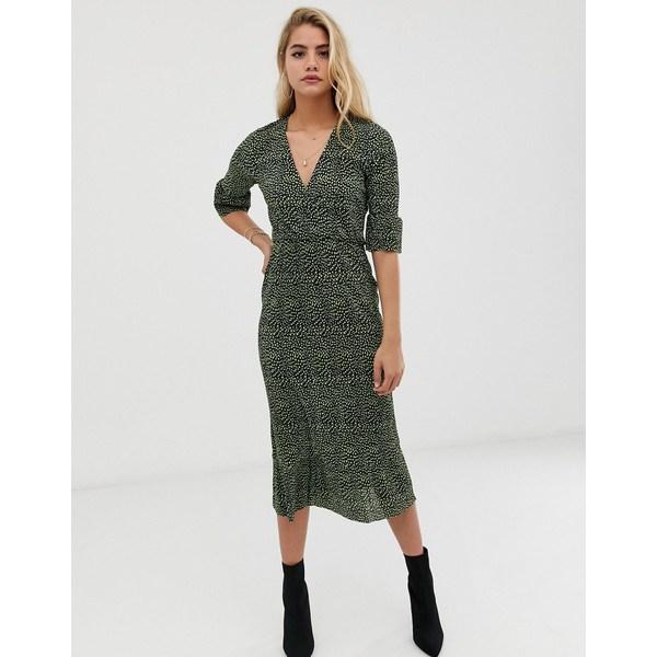 エイソス レディース ワンピース トップス ASOS DESIGN midi plisse tea dress with open back in blurred polka dot Blurred spot