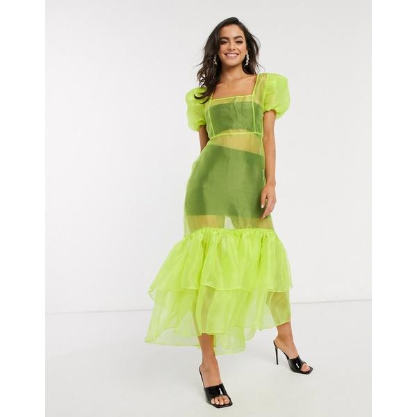 ユニーク21 レディース ワンピース トップス Unique21 organza midi dress with peplum in neon green Lime