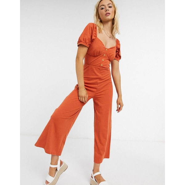 エイソス レディース ワンピース トップス ASOS DESIGN jersey button front cupped tea culotte jumpsuit in burnt orange Burnt orange