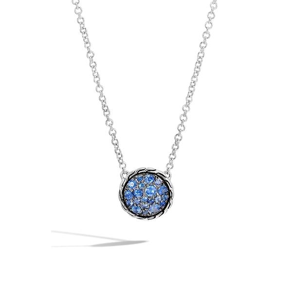 ジョン・ハーディー レディース ネックレス・チョーカー・ペンダントトップ アクセサリー John Hardy Chain Classic Pav Pendant Necklace Silver/ Blue Sapphire