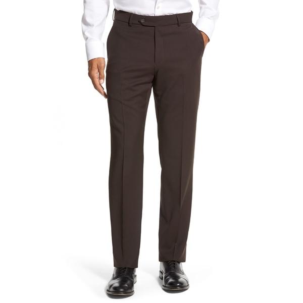 バリーン メンズ カジュアルパンツ ボトムス Ballin Classic Fit Flat Front Solid Wool Dress Pants Brown