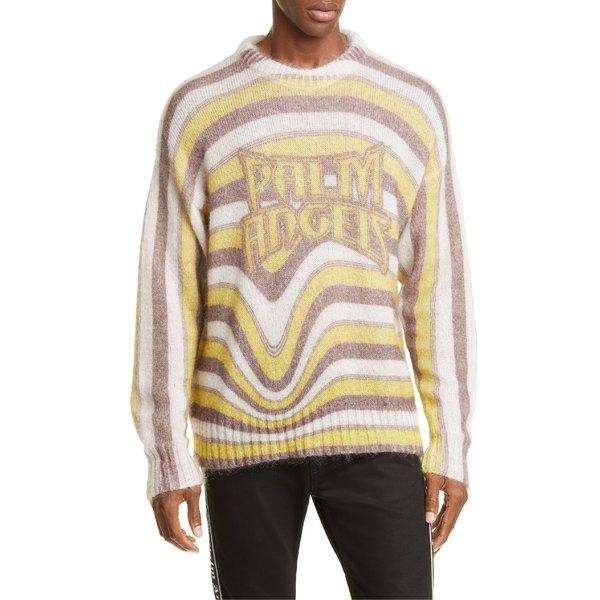 パーム・エンジェルス メンズ ニット&セーター アウター Palm Angels Melting Stripes Mohair Blend Sweater Yellow Multicolor
