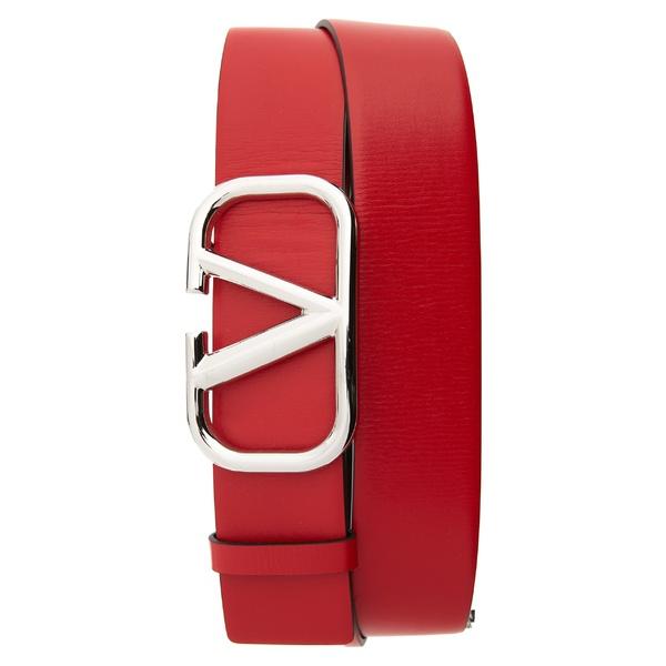 ヴァレンティノ メンズ ベルト アクセサリー Valentino V-Buckle Leather Belt Red