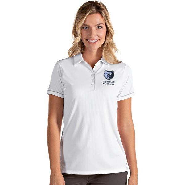 Antigua レディース トップス 限定タイムセール ポロシャツ White Silver 全商品無料サイズ交換 アンティグア Shirt お求めやすく価格改定 Memphis Polo Women's Salute Grizzlies