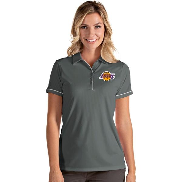 Antigua レディース トップス ポロシャツ クリアランスsale 期間限定 Steel White 日本正規代理店品 全商品無料サイズ交換 アンティグア Polo Women's Shirt Lakers Los Salute Angeles