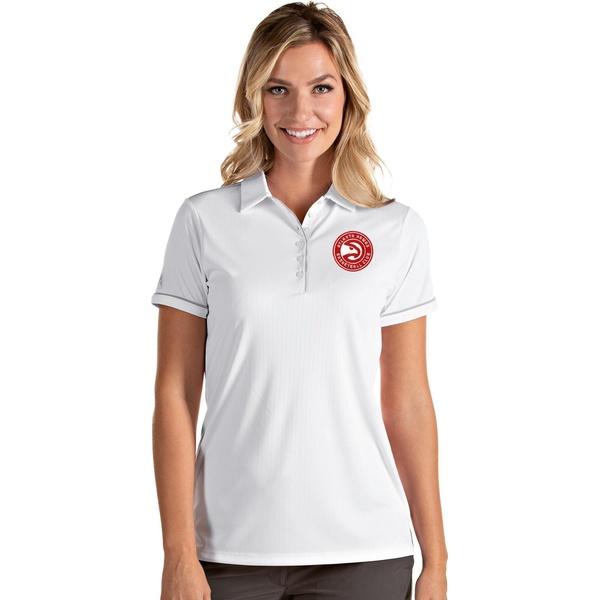 大幅値下げランキング Antigua レディース トップス ポロシャツ White Silver 全商品無料サイズ交換 Atlanta Women's Polo Salute Shirt Hawks アンティグア 送料無料でお届けします