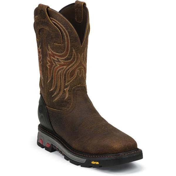 Justin メンズ シューズ ブーツ レインブーツ Mahogany 全商品無料サイズ交換 ジャスティン セールSALE%OFF Driscoll Work Wellington Steel EH Men's Toe 送料0円 Boots