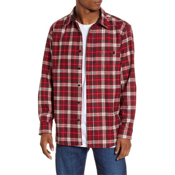 ペンドルトン メンズ シャツ トップス Pendleton Trail Regular Fit Plaid Wool Button-Up Shirt Red/ Slate Plaid