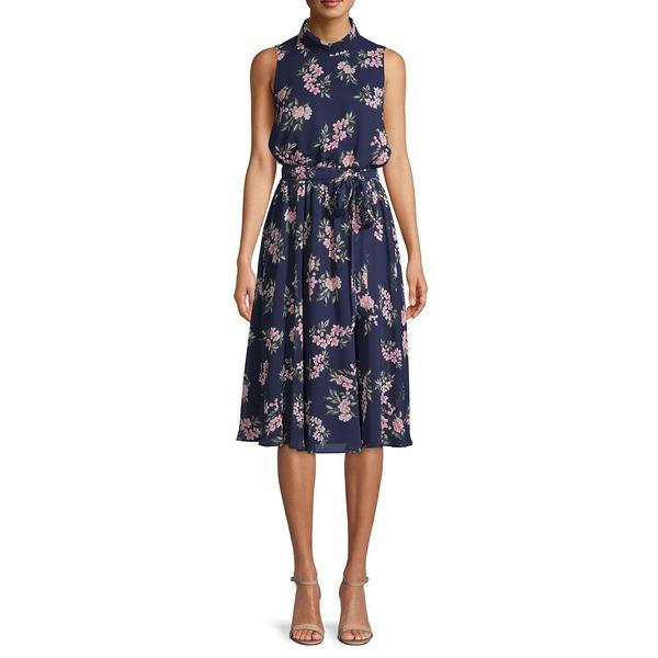 ハーパーローズ レディース ワンピース トップス Sleeveless Floral Chiffon Dress Navy