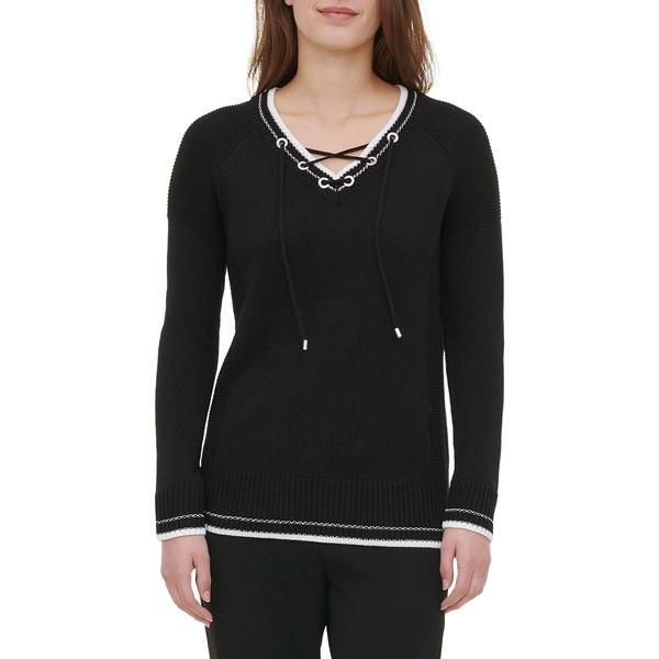 カルバンクライン レディース ニット&セーター アウター Lace-Up Sweater Black