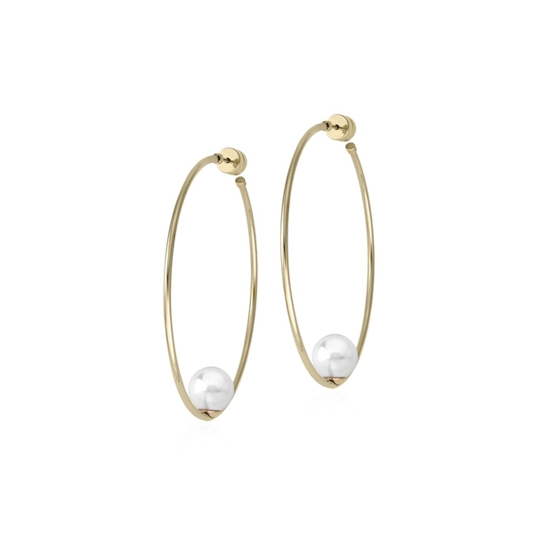 マジョリカ レディース ピアス&イヤリング アクセサリー Goldplated & Faux Pearl Hoop Earrings Gold