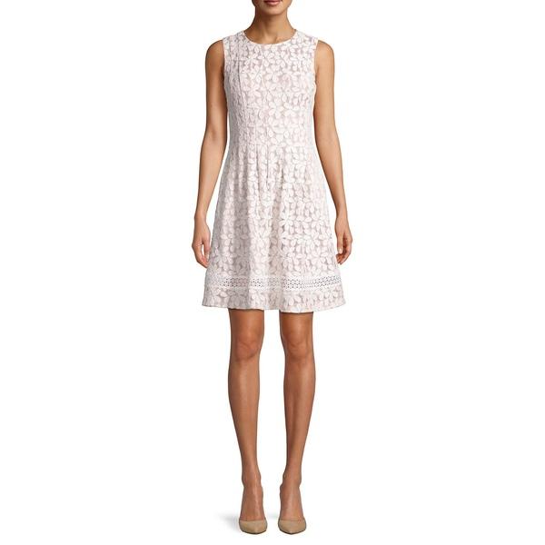 エリザジェイ レディース ワンピース トップス Floral Pleated Fit-&-Flare Dress Ivory Beige