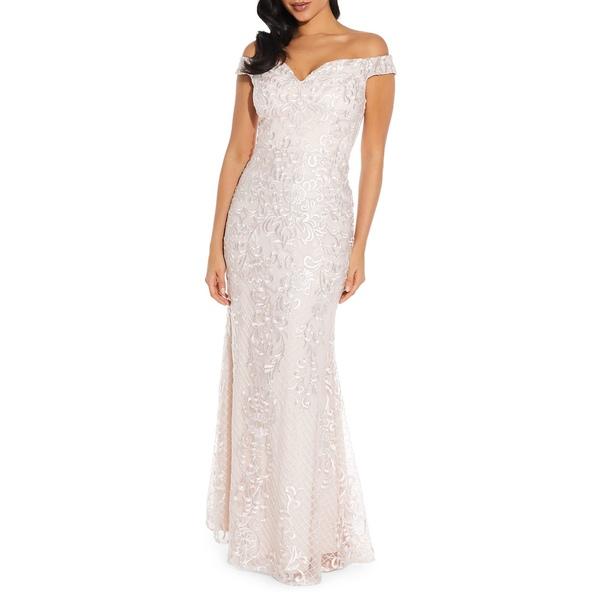 クイズ レディース ワンピース トップス Embroidered Off-The-Shoulder Gown Light Pink